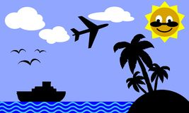 Travelling to tropical island. Illustration of a tropical island, a cruise ship and a plane Stock Images