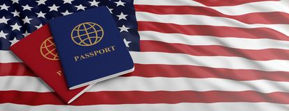 Travelling to USA. Two passports on US of America flag background. 3d illustration stock image