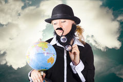 Travelling tourist planning global world tour Royalty Free Stock Image