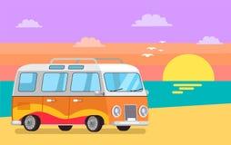 Travelling Trailer Van at Coastline on Background. Travelling trailer van at coastline background of sunset, retro bus seascape, home for freelancer track wheels vector illustration