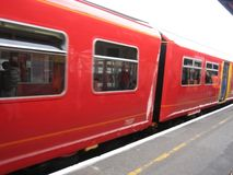 Travelling train. Bright red colored travelling train Royalty Free Stock Image