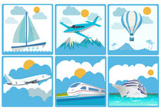 Travelling and Transport. Vector set stock illustration