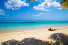 Travelling on a tropical island photographing loca royalty free stock images
