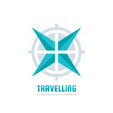 Travelling - vector business logo template concept illustration. Abstract rose of wind and target symbol. Travel agency adventure. Stock Photo