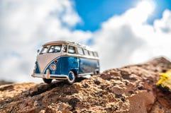 Travelling vintage camper van. Macro photo royalty free stock photography