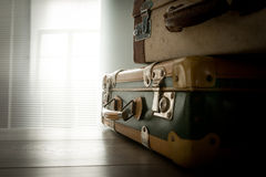 Travelling with a vintage suitcase Royalty Free Stock Images