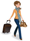 Travelling woman. Young woman walking with luggage Stock Photos