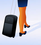 Travelling woman with luggage Royalty Free Stock Images