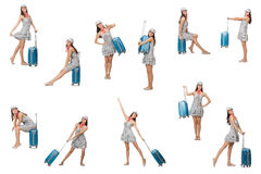 The travelling woman with suitcase isolated on Royalty Free Stock Images
