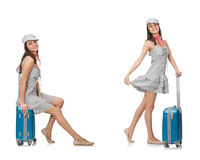 Travelling woman with suitcase isolated on white Royalty Free Stock Images