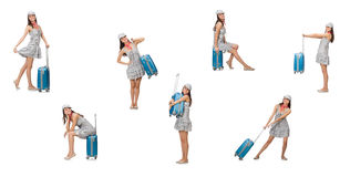 Travelling woman with suitcase isolated on white Stock Photo