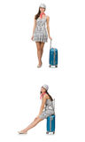 Travelling woman with suitcase isolated on white Stock Images
