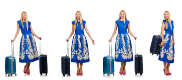 The travelling woman with suitcase isolated on white Stock Photo