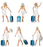 The travelling woman with suitcase isolated on white Royalty Free Stock Image