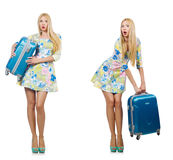 The travelling woman with suitcase isolated on white Royalty Free Stock Images