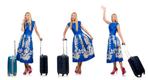 The travelling woman with suitcase isolated on white Royalty Free Stock Photography