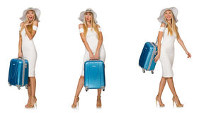 Travelling woman with suitcase isolated on white Stock Photography