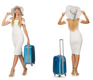 Travelling woman with suitcase isolated on white Royalty Free Stock Photo