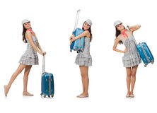 The travelling woman with suitcase Royalty Free Stock Photos