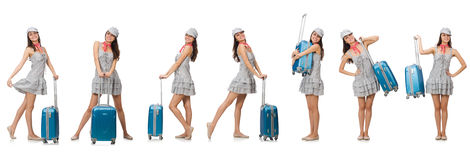 The travelling woman with suitcase isolated on white Stock Image