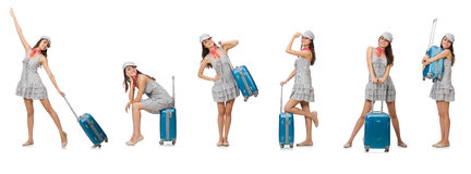 The travelling woman with suitcase  on white Royalty Free Stock Images