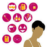 Travelling woman. Vector illustration of a young woman thinking about her travelling list Royalty Free Stock Photography