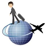 Travelling the World. Illustration of a business man travelling the world by airplane isolated on a white background. Eps file is available Stock Image