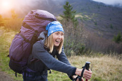 She travels with a backpack. Royalty Free Stock Photography