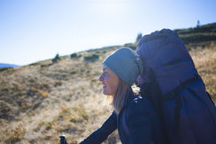 She travels with a backpack. Royalty Free Stock Images