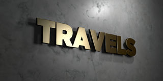 Travels - Gold sign mounted on glossy marble wall  - 3D rendered royalty free stock illustration. This image can be used for an online website banner ad or a Royalty Free Stock Image