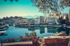 Travels Greece Сrit Bay Lake boat marina boat Royalty Free Stock Images