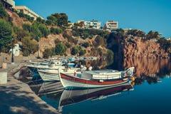 Travels Greece Сrit Bay Lake boat marina boat Royalty Free Stock Image