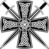 Traversa celtica e spade Fotografia Stock Libera da Diritti