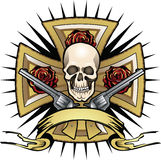 Traversa con il cranio e gli psitols Immagine Stock