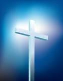 Traversa cristiana con indicatore luminoso Fotografie Stock Libere da Diritti