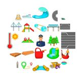Traversal icons set, cartoon style. Traversal icons set. Cartoon set of 25 traversal vector icons for web isolated on white background Royalty Free Stock Images