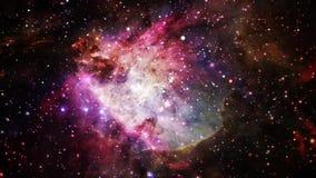 Traversando attraverso le stelle al centro di una nebulosa stock footage