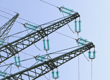 Traverses at a tension tower. Of a high-voltage line Stock Photography