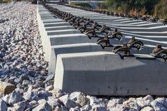 Traversine ferroviarie concrete Immagini Stock Libere da Diritti