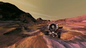 Traversing Crater Terrain. Mars vehicle negotiating crater rim terrain Royalty Free Stock Images