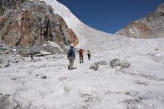 Traversing a Himalayan Glacier Royalty Free Stock Photography