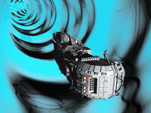 Traversing the wormhole. Science fiction spacecraft travelling faster than light by traversing wormhole in space Royalty Free Stock Image
