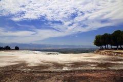Travertijnpools in oude Hierapolis, nu Pamukkale, Turkije Stock Afbeeldingen