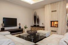 Travertine house: Bright interior Stock Images