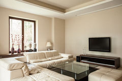 Travertine house: Bright living room Royalty Free Stock Images