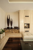 Travertine house: Details in living room Stock Photo