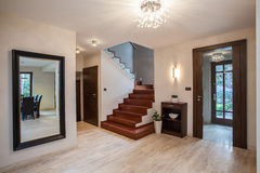 Travertine house: entrance Stock Images