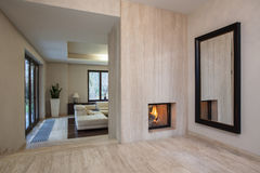 Travertine house: Entrance to living room Stock Images