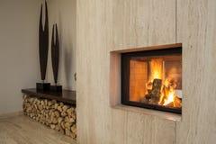 Travertine house: fireplace Royalty Free Stock Photo