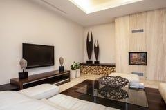 Travertine house: Illuminated living room Royalty Free Stock Images